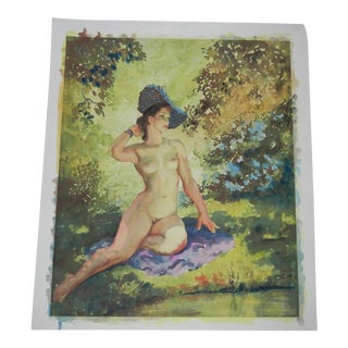 Vintage Nude Female Lithograph