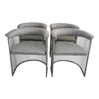 Platner Style Chrome & Fabric Chairs - Set of 4