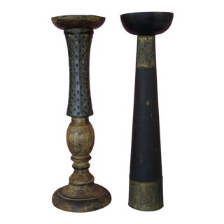 Wood & Hammered Brass Candle Holders - A Pair