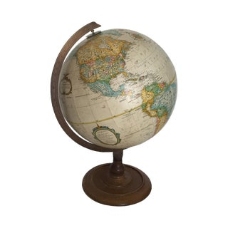 Vintage World Globe on Wooden Base