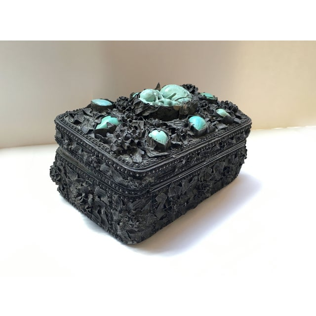 Image of 19th Century Turquoise and Silver Decorative Box