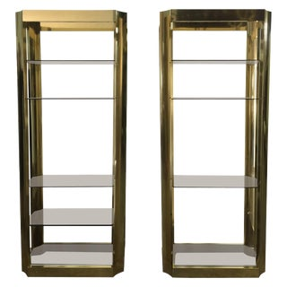 Pair of Brass Finish Anodized Aluminum Shelves