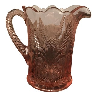 Pink Pressed Glass With Thistle Design Pitcher