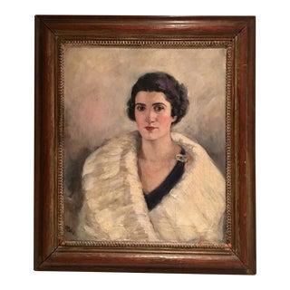 H. Pink Mid-Century Original Oil on Canvas Female Portrait Painting
