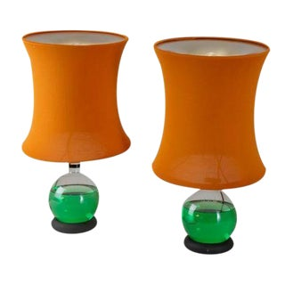 Pair of Lotus Lamps with Adjustable Colour Liquid, Italy, 1960s