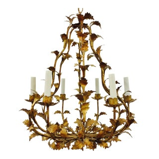 Gold Tole Leaves Chandelier
