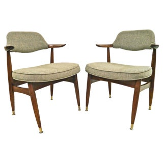 Mid-Century Linen Armchairs - a Pair