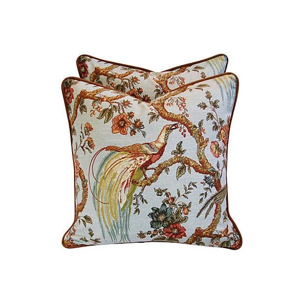 Custom Exotic Chinoiserie Fowl Pillows - Pair - Image 1 of 7