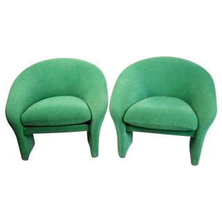 Vintage 1970s Green Barrel-Back Chairs - a Pair