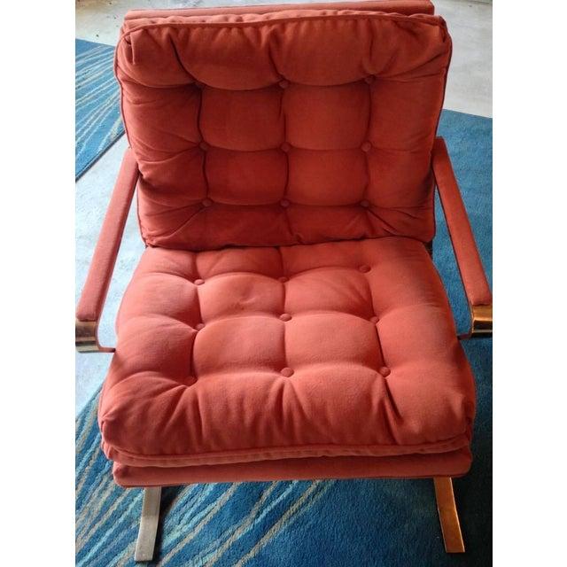 Image of Bernhardt Flair Brass & Velvet Armchairs - A Pair