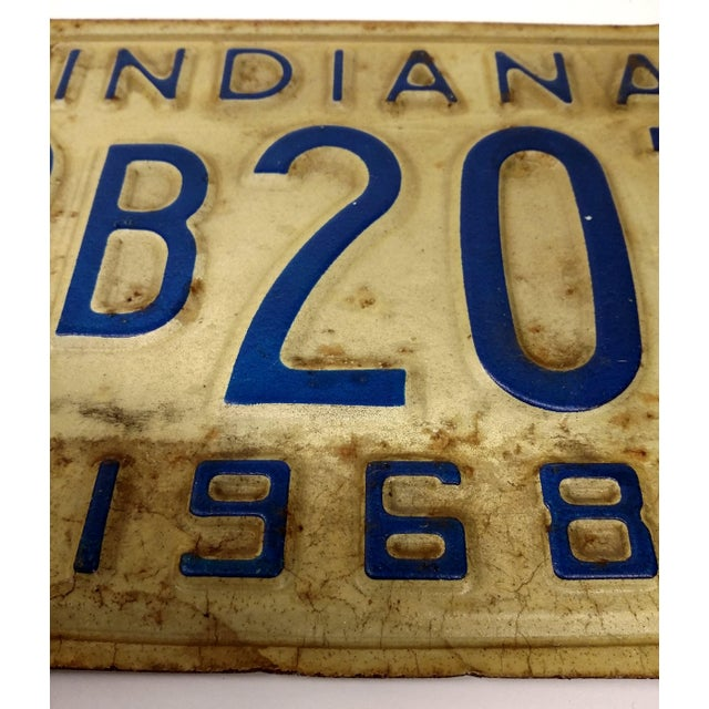 Rustic Mid Century Indiana License Plate 1968 - Image 6 of 6