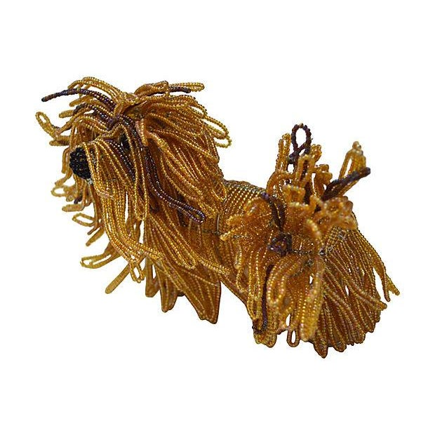 Image of Glass Beaded Lhasa Apso Dog Sculpture