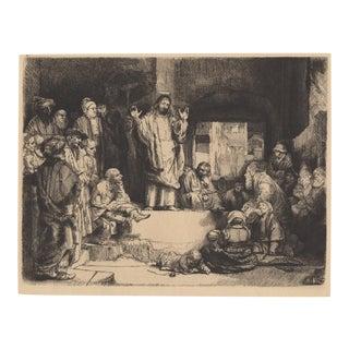 "After Rembrandt 20th c. Christ Preaching ""La Petite Tomb"" Heliogravure"