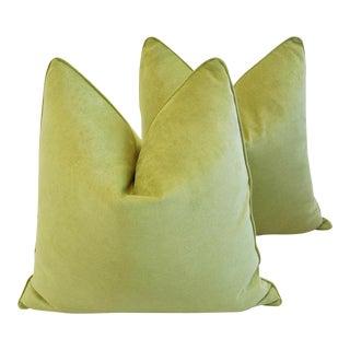 "Custom Apple Green Velvet Feather/Down Pillows 24"" - a Pair"