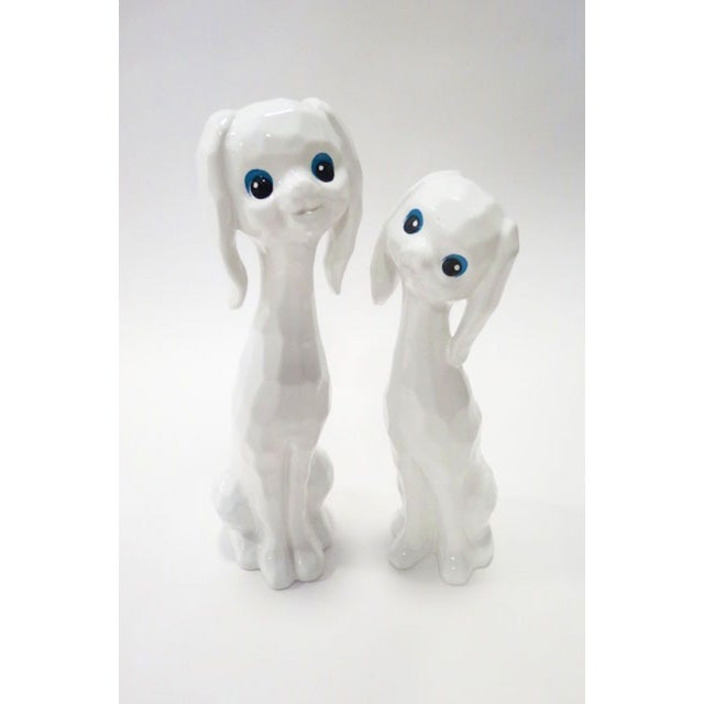 White Ceramic Dogs - A Pair - Image 2 of 4