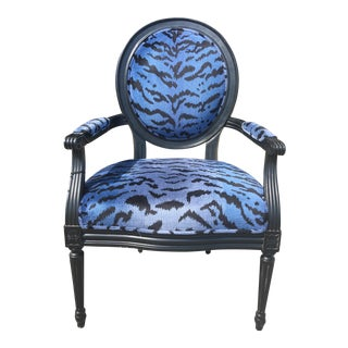 Port 68 Scalamandre Blue Le Tigre Upholstered Avery Chair