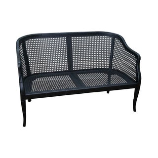 Hollywood Regency Black Faux Bamboo Caned Settee