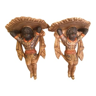 Venetian Gilt Wood Blackamoor Wall Brackets - A Pair
