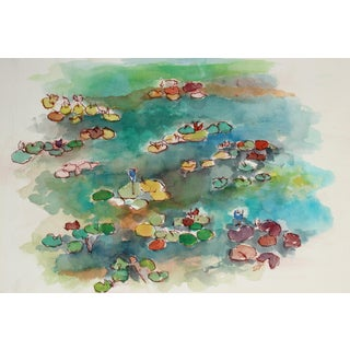 Abstracted Lily Pond Watercolor by Seymour Tubis