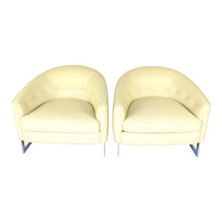 Milo Baughman Cream Leather Lounge Chairs - A Pair