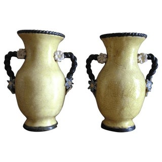 Yellow Crackle Vases - A Pair