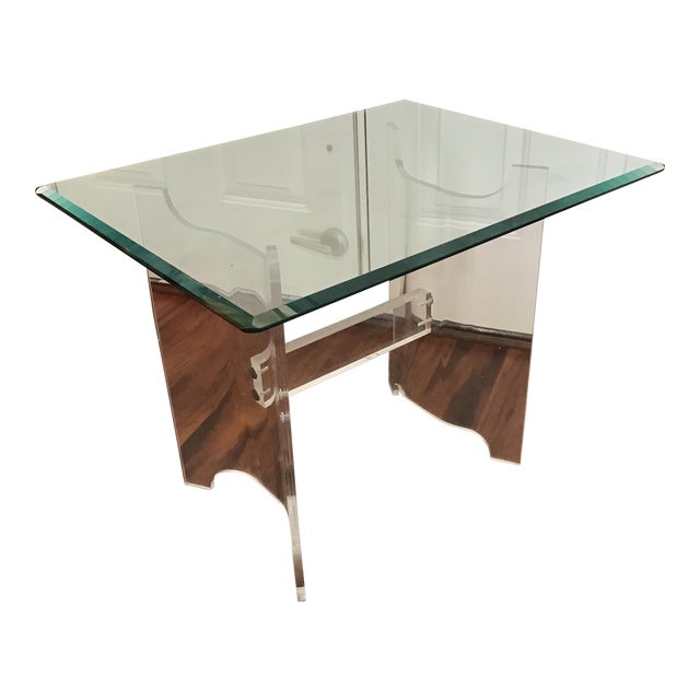 Image of Mid-Century Lucite & Glass End Table