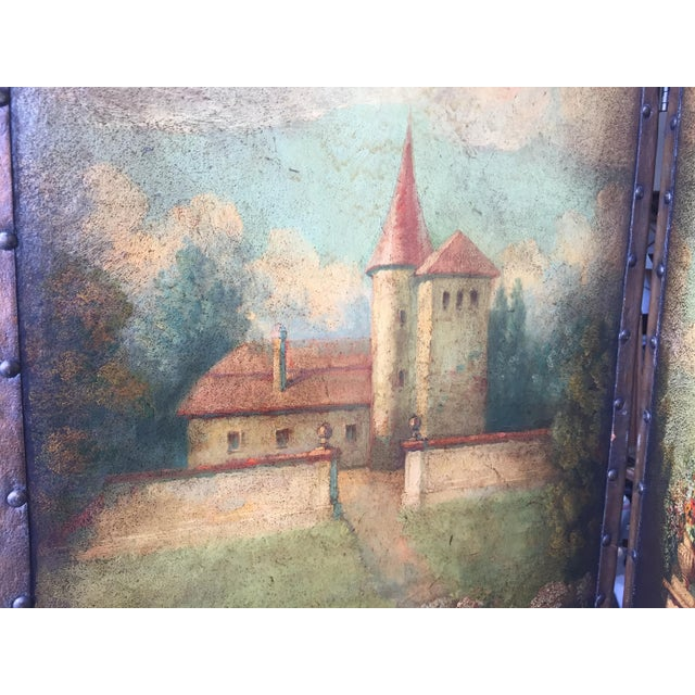 6 Ft Antique Painted Leather Screen W/ Pastural Scene - Image 8 of 10