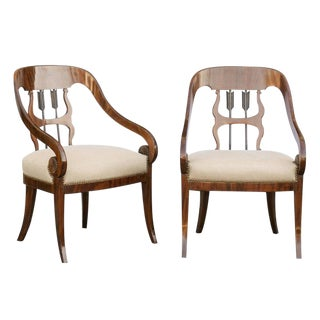 Pair of Biedermeier Armchairs with Upholstered Seats