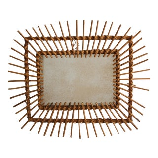 Vintage Rattan Rectangle Sunburst Mirror