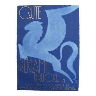 1926 German Poster, Blue Flying Horse