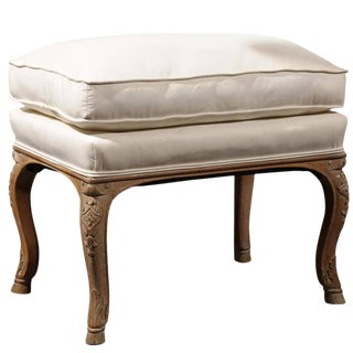 French Carved French Carved Walnut Upholstered Stool with Cushion from the Turn of the Century Bench