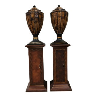 Large Pedestals With Burl Urns - A Pair
