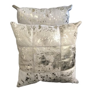 """20"""" Gold Metallic Cream Cowhide Pillows With Down Filling - a Pair"""