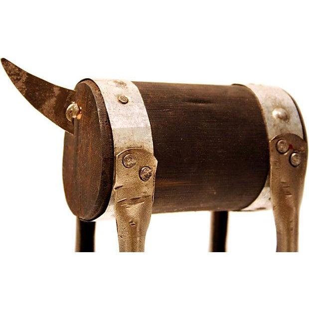Modern Handmade Sculpture of a Bull - Image 3 of 4