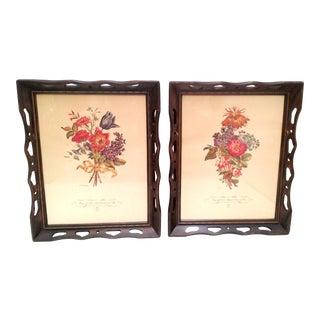 Vintage Framed Floral Artworks - A Pair
