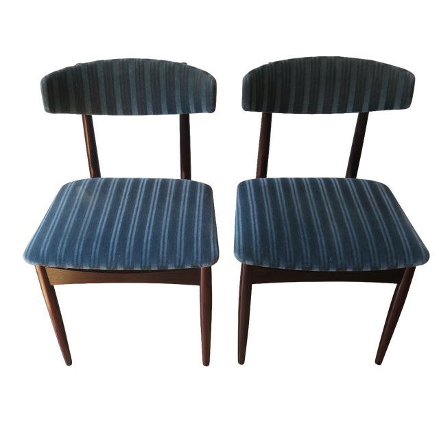 Mid-Century Teal Upholstered Chairs - A Pair - Image 1 of 5