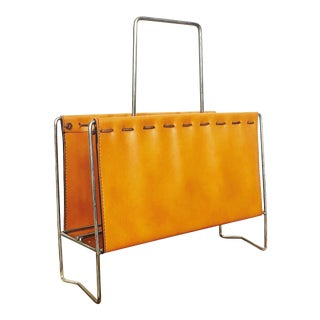 Mid Century Chrome and Faux Leather Magazine Rack