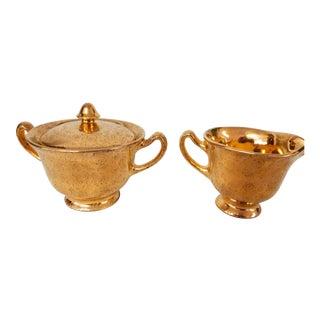 Vintage Gold Pattern Creamer & Sugar Bowl - A Pair