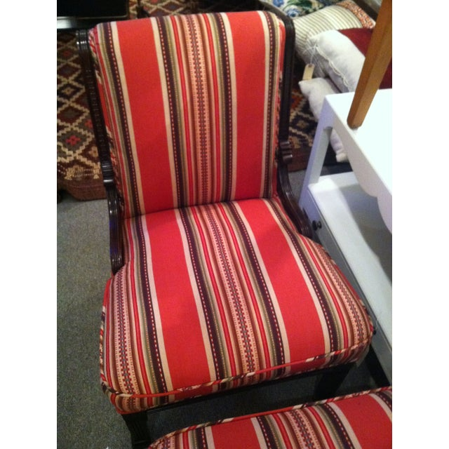 Red Striped Eastlake Slipper Chairs - A Pair - Image 3 of 4