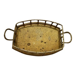 Vintage Brass Rectangular Rounded Bamboo Tray