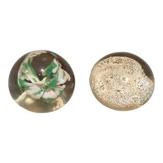 Pair of Hand Blown Glass Paper Weights
