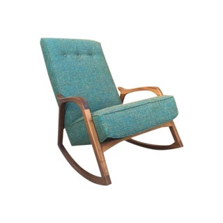 Mid Century Teal Sculptural Custom Rocking Chair