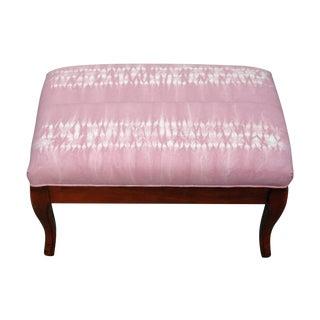 Hand Dyed Pink Shibori Upcycled Ottoman