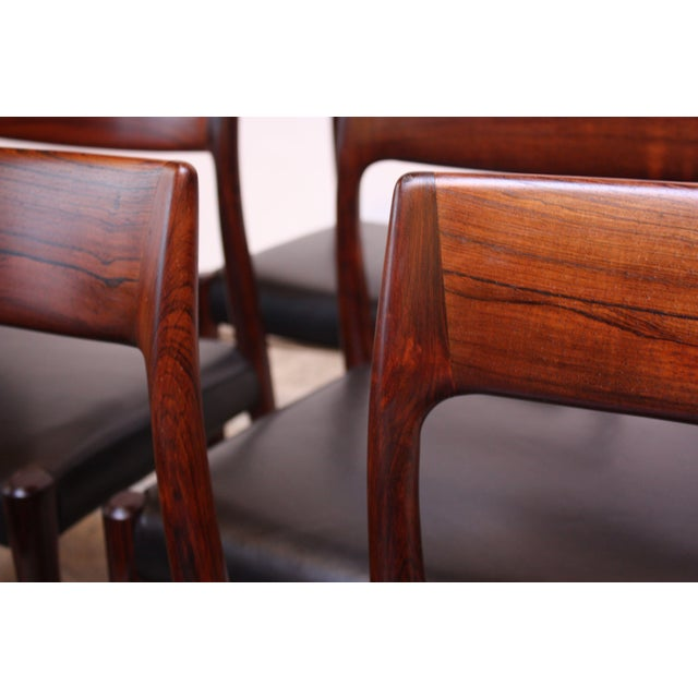 Set of Six Rosewood #77 Dining Chairs by Niels O. Møller - Image 9 of 11