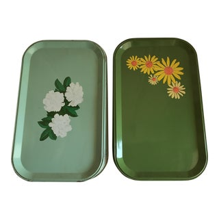 Mid-Century Enamel Floral Trays - Set of 10