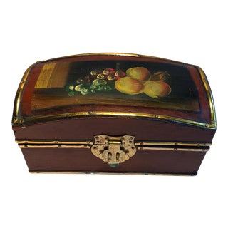 Vintage Hand Painted Fruit Motif Wooden Box