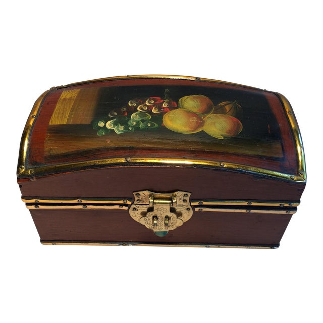 Vintage Hand Painted Fruit Motif Wooden Box - Image 1 of 11