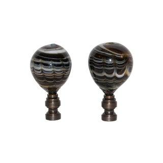 Hand Blown Marble Glass Egg Finials - Pair