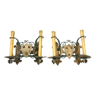 Double Arm Stars & Shield Iron Sconces - A Pair