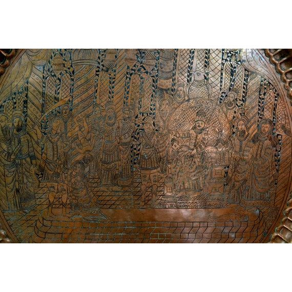 Antique Engraved Brass Moroccan Tray - Image 6 of 6